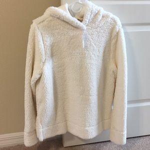 NWT Loft white Sherpa hoodie pullover Medium